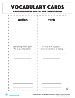 Vocabulary Cards: Verbs that Show Character Action
