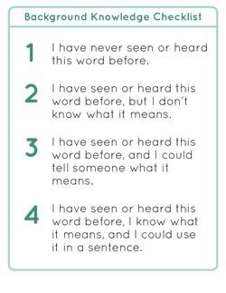 Background Knowledge Checklist