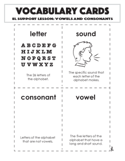 Vocabulary Cards: Vowels and Consonants