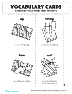 Vocabulary Cards: EL Support Lesson: What Do You Do With A Book?