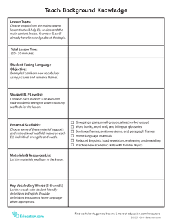 Teach Background Knowledge Template