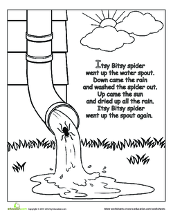 The Itsy Bitsy Spider: Rhyme Coloring Page