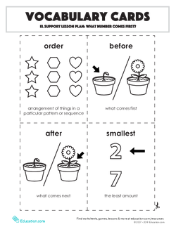 Vocabulary Cards: What Number Comes First?