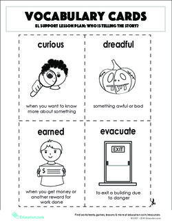 Vocabulary Cards: Who Is Telling the Story?