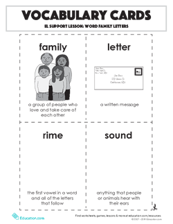 Vocabulary Cards: Word Family Letters