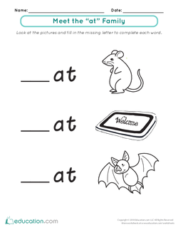 """Word Families: Meet the """"At"""" Family"""