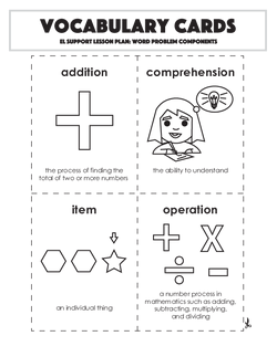 Vocabulary Cards: Word Problem Components