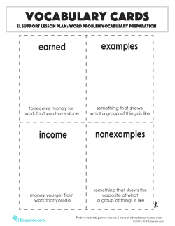 Vocabulary Cards: Word Problem Vocabulary Preparation