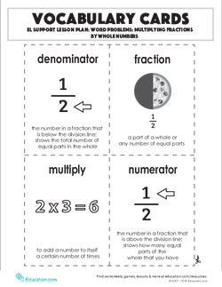 Vocabulary Cards: Word Problems: Multiplying Fractions by Whole Numbers