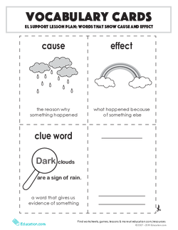 Vocabulary Cards: EL Support Lesson: Words That Show Cause And Effect