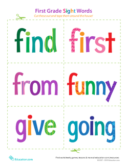First Grade Sight Words: Find to Going