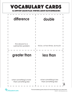 Vocabulary Cards: Writing About Math Expressions