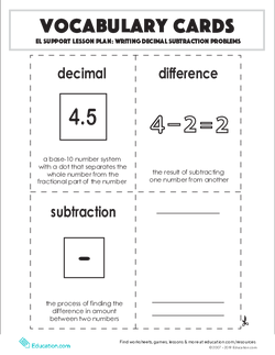 Vocabulary Cards: Writing Decimal Subtraction Problems