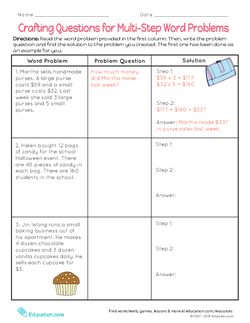 Crafting Questions for Multi-Step Word Problems