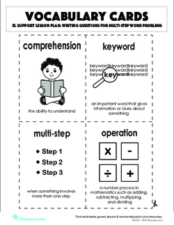Vocabulary Cards: Writing Questions for Multi-Step Word Problems