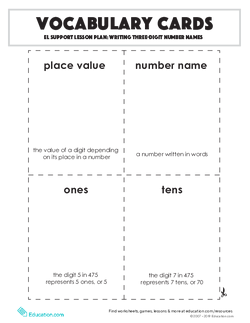 Vocabulary Cards: Writing Three-Digit Number Names