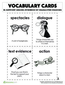 Vocabulary Cards: Evidence of Character Changes