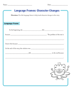 Graphic Organizer Template: Language Frames for Character Changes