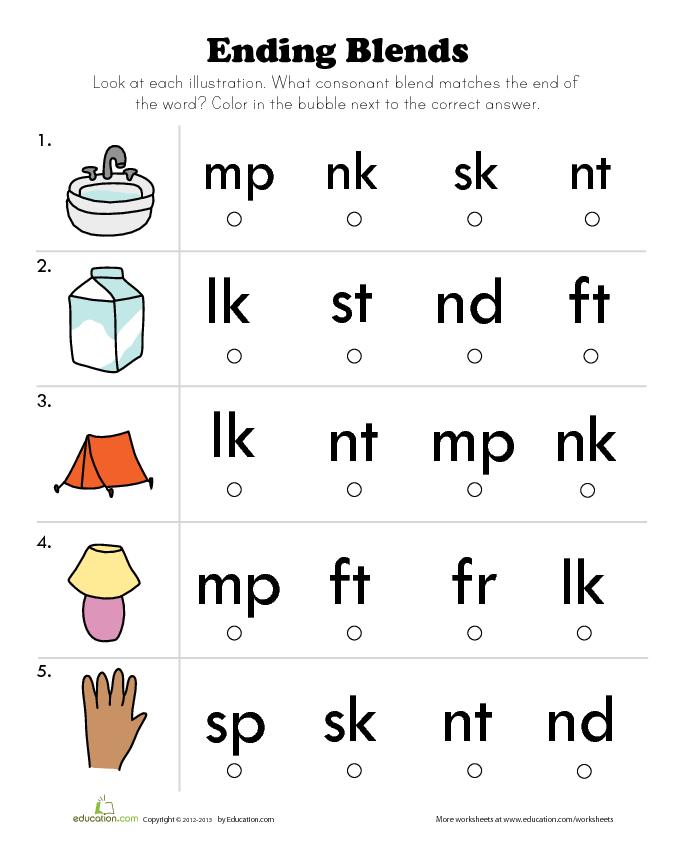 Printable Worksheets ending consonant blends worksheets : Ending Blends: Word Practice | Lesson Plan | Education.com