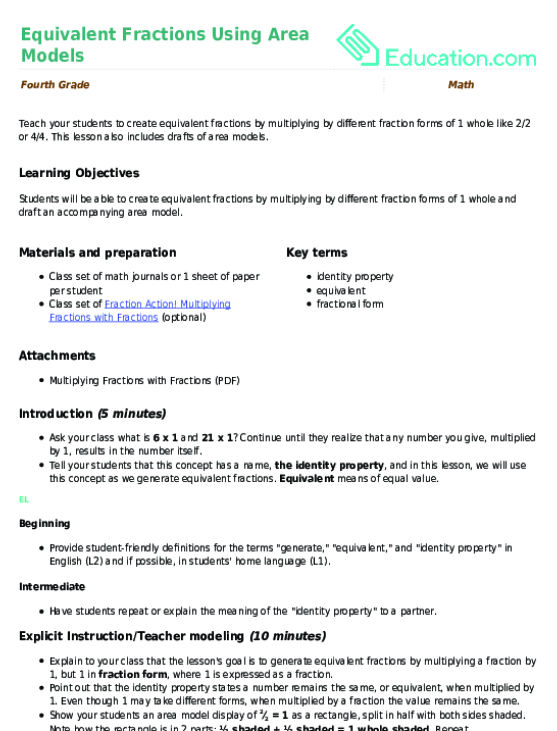 Equivalent Fractions Using Area Models Lesson Plan Education