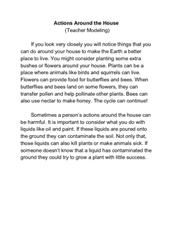 Actions Around the House