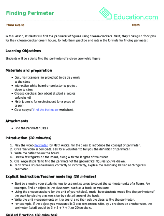 Finding Perimeter Lesson Plan Education