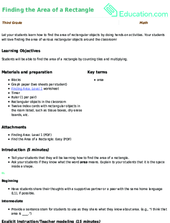 Finding The Area Of A Rectangle Lesson Plan Education