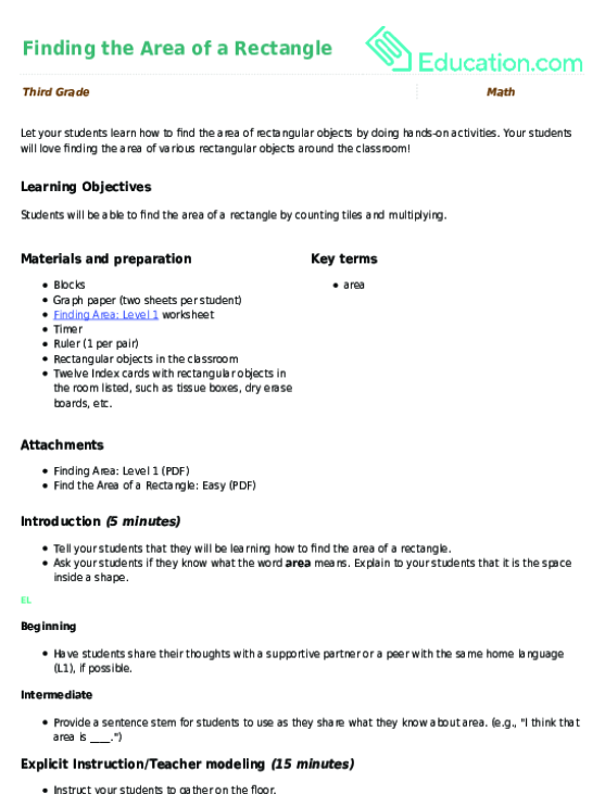 Area of rectangle worksheet 5th grade