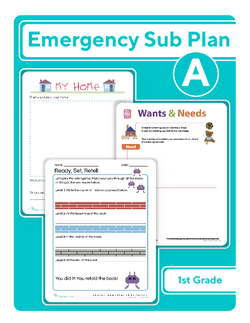 First Grade Sub Plan: Day 1