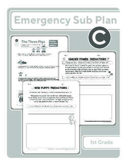 First Grade Sub Plan (black and white): Day 3