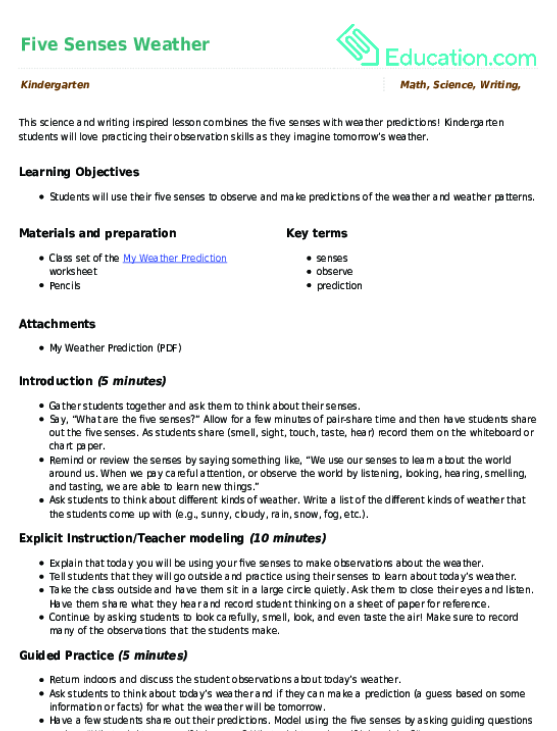 What Kind Of Weather Lesson Plan Education Lesson Plan