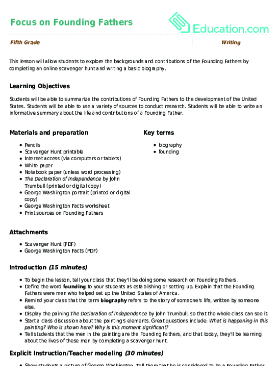 Focus On Founding Fathers Lesson Plan Education