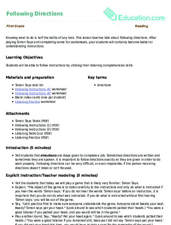 Following Directions Lesson Plan – Following Directions Worksheet