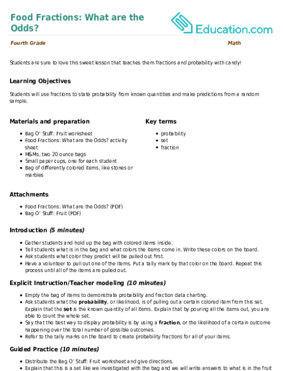 Food Fractions What are the Odds Lesson Plan – Probability and Odds Worksheet