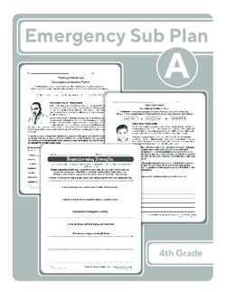 Fourth Grade Sub Plan (black and white): Day 1