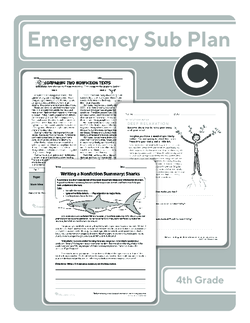 Fourth Grade Sub Plan (black and white): Day 3