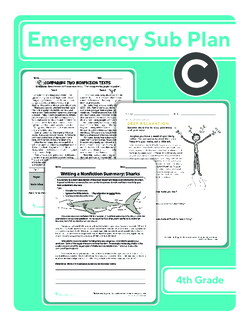 Fourth Grade Sub Plan: Day 3