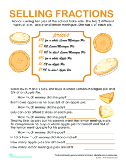 Fraction Word Problems: Pie Time