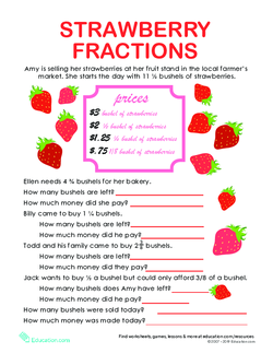 Fraction Word Problems: Strawberry Stand