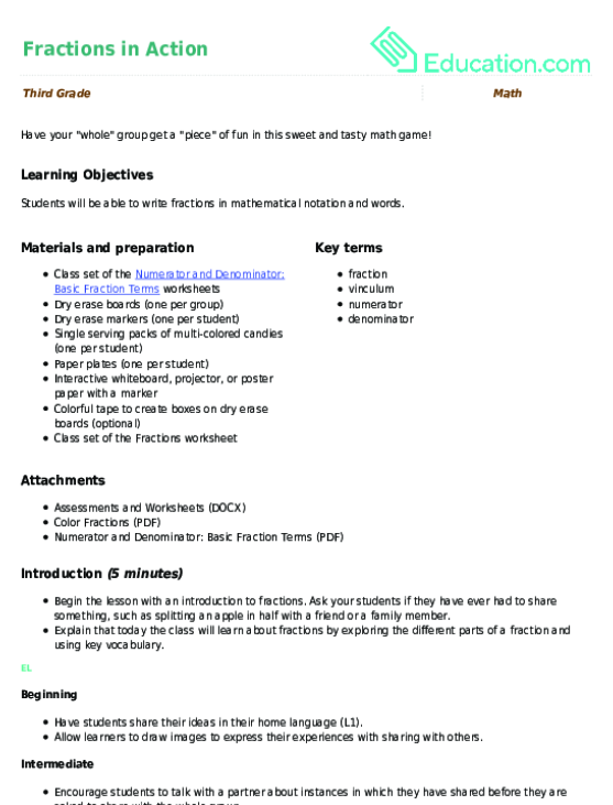 Fractions In Action Lesson Plan Education