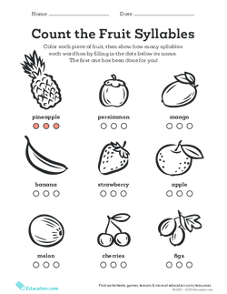Count the Fruit Syllables