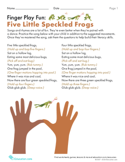 Finger Play Fun: Five Little Speckled Frogs