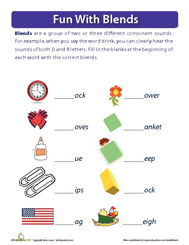 Printable Worksheets ending consonant blends worksheets : Fun With Blends | Lesson Plan | Education.com