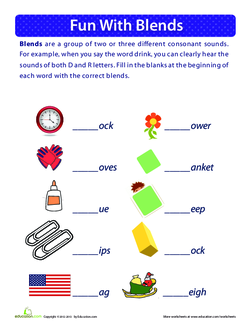 Fun with Blends Worksheet