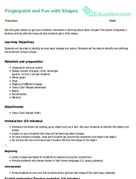 2D Shapes Lesson Plans | Education.com