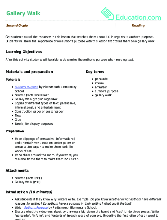 Gallery Walk Lesson Plan Education Lesson Plan Education