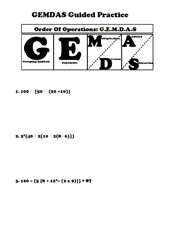 Printable Worksheets order of operations easy worksheets : GEMDAS: Order of Operations | Lesson Plan | Education.com