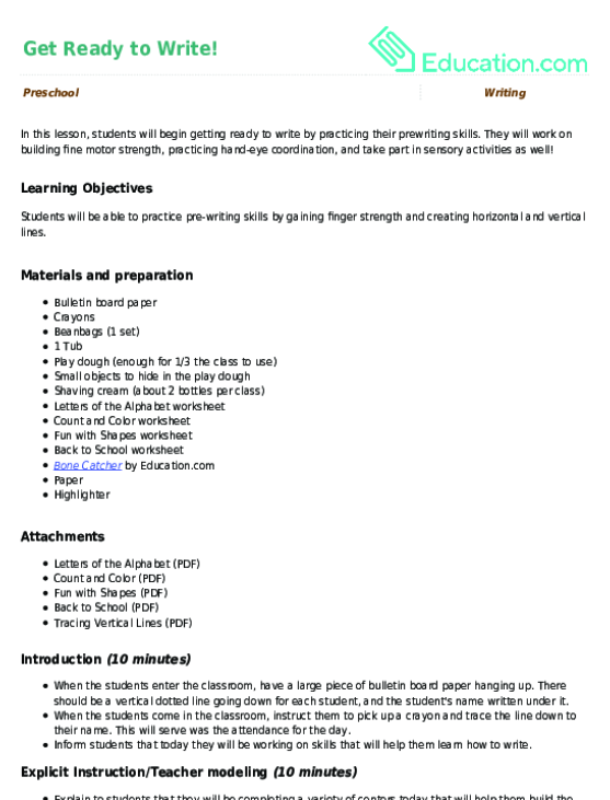 Get Ready to Write Lesson Plan – Horizontal and Vertical Lines Worksheet