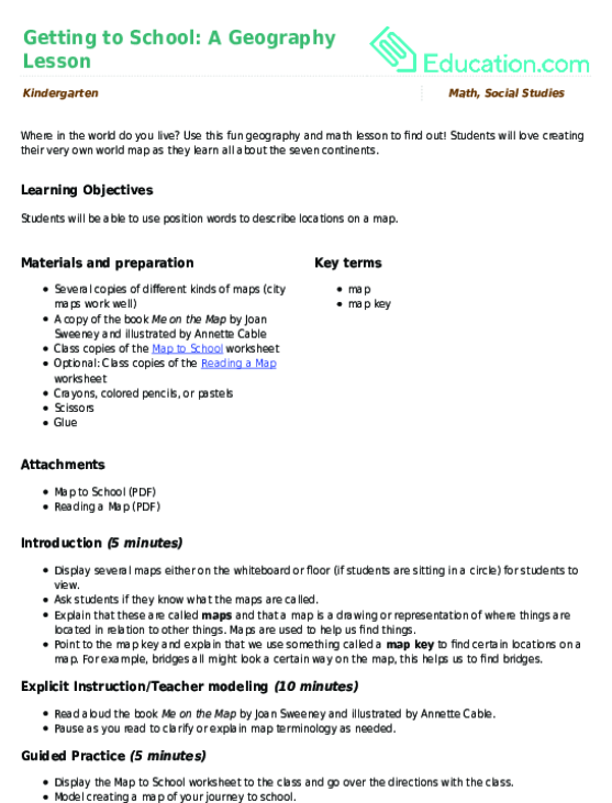 Map To School Worksheet Education Com