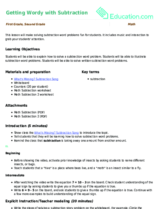 Simple Addition and Subtraction Worksheet – Math Facts Subtraction Worksheets